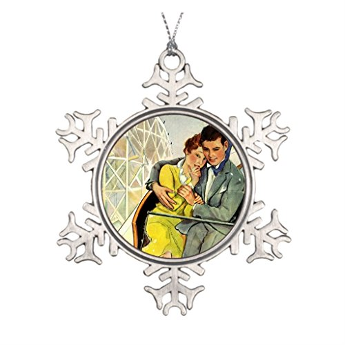 (Vintage Love And Romance, Roller Coaster Ride Snowflake Pewter Round Christmas Ornament)