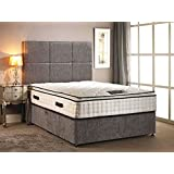 Somnior Beds Divan Bed chenille fabric with High Pillow top 30cm Deep mattress with four drawers with headboard in different size variation (Silver, 5FT KING)