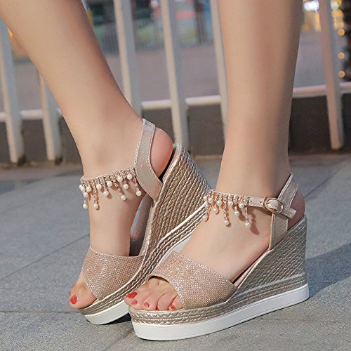 Water New Summer Shoes Buckles The XKNSLX Sandals Toe The The Hammer Toe Casual golden New The Pearl The 7URyEwgq
