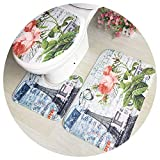 Toilet Seats Flower Printed Bathroom Carpets Set Flannel Pedestal Rug Lid Toilet Cover