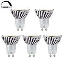 HERO-LED Dimmable MR16 GU10 Based 4.8W LED Bulb, 5-Pack, 50W Halogen Replacement, 120 Degree, Daylight White