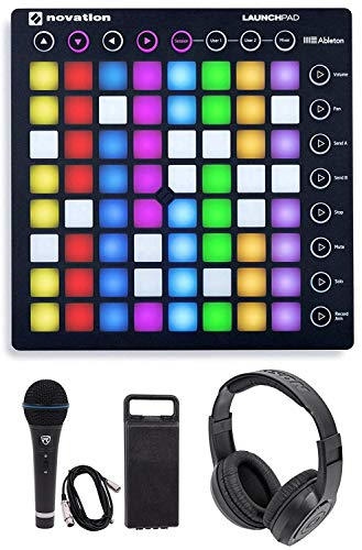 (Novation LAUNCHPAD S MK2 MKII MIDI USB RGB Controller Pad+Mic+Cable+Headphones Bundle)