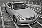 Infiniti G37 Coupe Right Front Black and White HD Poster Sports Car 36 X 24 Inch Print