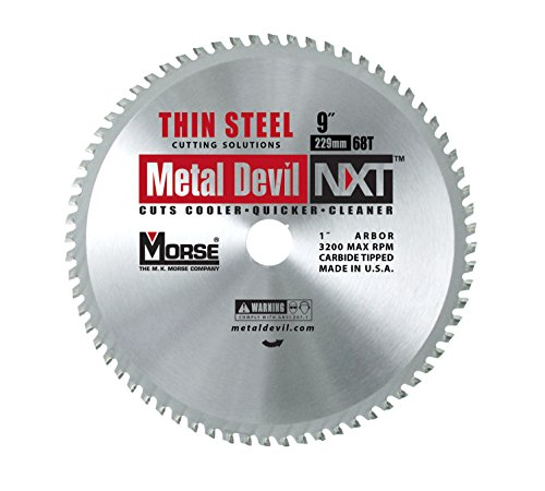 MK Morse CSM968NTSC Metal Devil NXT Metal Cutting Circular Saw Blade, Thin Steel, 9-Inch Diameter, 68 TPI, 1-Inch (Metal Devil Saw Blade)