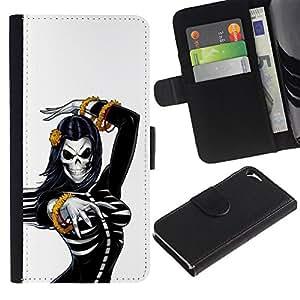 ZCell / Apple Iphone 5 / 5S / Skull Bride Woman Gold White Black / Caso Shell Armor Funda Case Cover Wallet / Cráneo novia mujer Oro Blanc