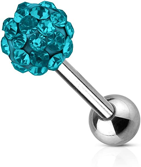 Covet Jewelry 316L Surgical Steel Crystal Epoxy Ferido Ball Nipple Bar
