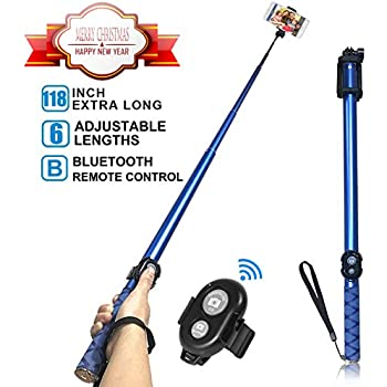 Amazon com: Bluetooth Long Selfie Stick- Super Length