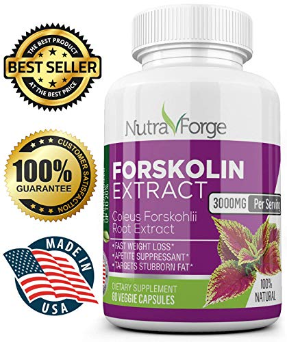 Maximum Loss Weight Formula - Nutra Forge - Pure Forskolin Extract 3000mg - Max Strength 30 Day Supply w/ 20% Standardized Forskolin Extract for Weight Loss - Appetite Suppressant, Fat Burner, Diet Pills for Men and Woman