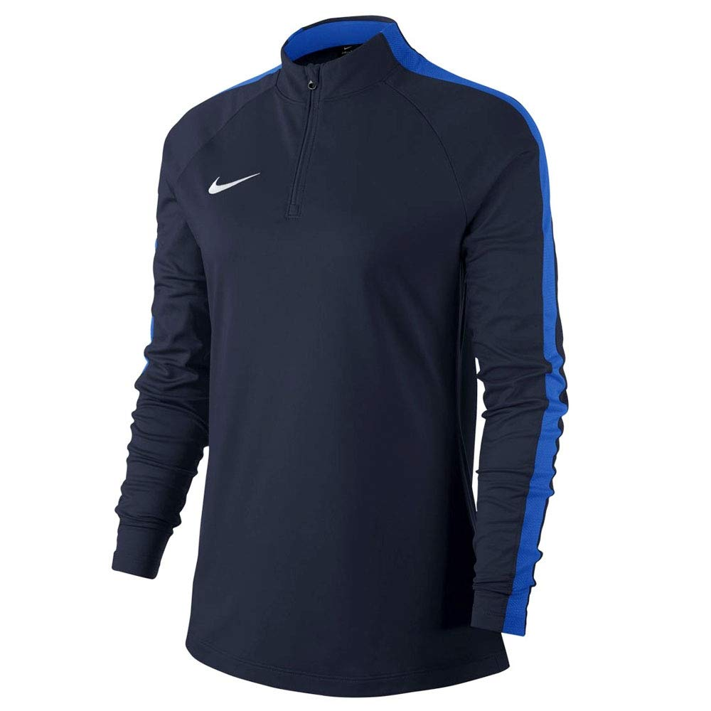 Nike Women's Academy Dri-Fit Drill Half Zip Top Long Sleeve, 893710-451 (Obsidian/Royal Blue/White, Large)