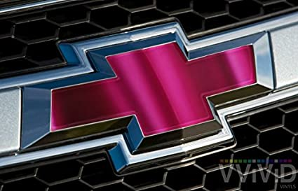 Rear Logo Diy Easy To Install 11.80 Inches x 4 Inches Sheets x2 VVIVID Pink Magenta Chrome Auto Emblem Vinyl Wrap Overlay Cut-Your-Own Decal For Chevy Bowtie Grill