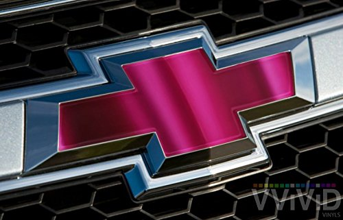 "VVIVID Pink Magenta Chrome Auto Emblem Vinyl Wrap Overlay Cut-Your-Own Decal for Chevy Bowtie Grill, Rear Logo DIY Easy to Install 11.80"" x 4"" Sheets (x2)"