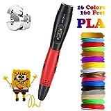 3D Pen with PLA Filament Refills 3D Drawing Printing Printer Pen Bonus 16 Colors 160 Feet PLA for Kids Adults Arts Crafts Model DIY, Non-Clogging