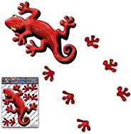Red Lizard Gecko Animal Car Decal + Foot Prints Small Funny Vinyl Sticker Pack for Walls Laptop Bicycle Carava