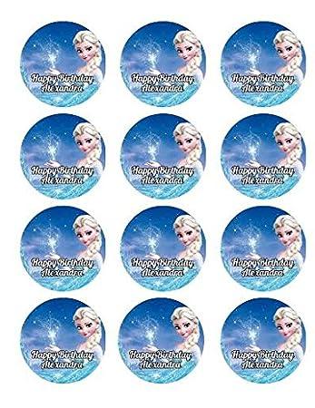 Amazon.com: 12 cupcakes Elsa de Frozen Anna comestible ...