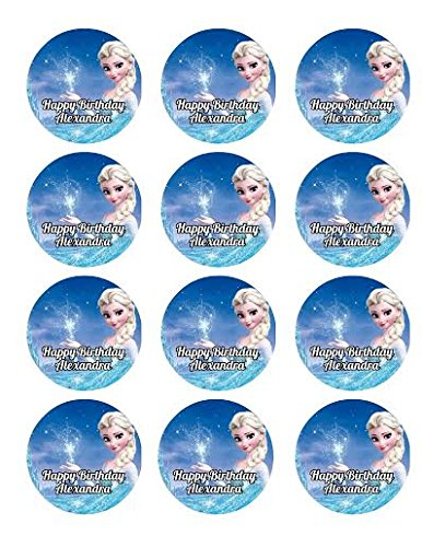 Amazon.com: 12 cupcakes Elsa de Frozen Anna comestible ...