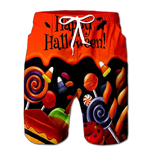 Quick Dry Halloween Sweets Colorful Party Lollipop Candy Corn Cake Caramel Apple Jelly Bean Donut Beach Shorts Swim Trunks Board Shorts -