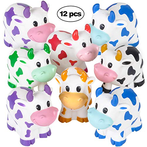 Bedwina Colorful Rubber Cows (Pack of 12) Squeeze and Squirt Water from The Mouth, Variety Colors, for Children Party Favors, Pool and Bathtub Toy ()