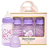 Juicy Couture 11oz Baby Bottle, 3 Pack Set in Gift Package- Newborn and Infant Bottles- BPA Free- Anti Colic Valve Feature- Perfect gift for Baby Registry