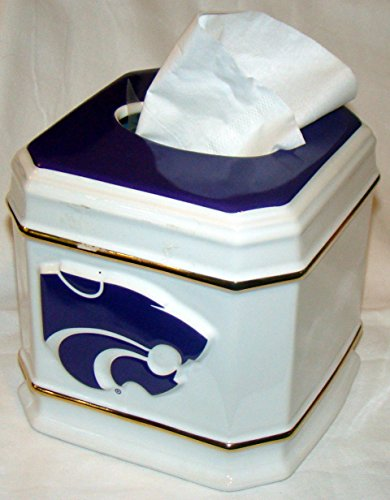 NCAA Licensed Kansas State Wildcats Ceramic Tissue Kleenex Box Holder Cover ()