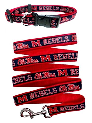 Mississippi Ole Miss Nylon Collar and Matching Leash for Pets (NCAA Official by Pets First) Size Large by Pets First