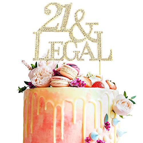 21st Birthday Crystal Rhinestone Gold Cake Topper Finally