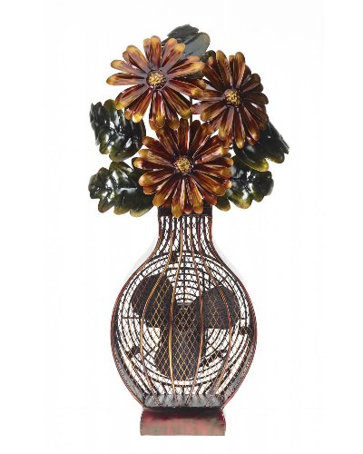 (DecoBREEZE Decorative Table Fan, Desk Fan, Two Speed Electric Tabletop Fan, Figurine Fan, 7 inch, Floral)