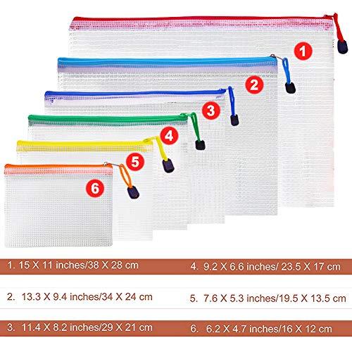 Koogel 12 Stk. Dokumententasche, Plastiktasche mit Reißverschluss Mesh Datai Dokumentenmappen für Kosmetik Bürobedarf DIN B4 A4 B5 A5 B6 A6