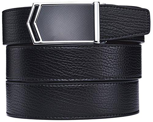 plyesxale Men's Leather Ratchet Dress Belt- Length is Adjustable - Delicate Gift Box (Waist Size:36-44'', Black Belt K117S10) by plyesxale
