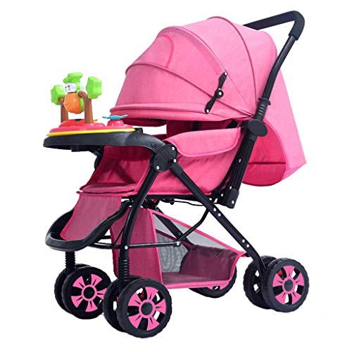 YRYRGXQ Folding Portable Pushchair Comfortable Breathable Shockproof Can Sit and Lie with A Large Storage Basket Travel Stroller, Suitable for All Seasons of 0~3 Year Old Baby