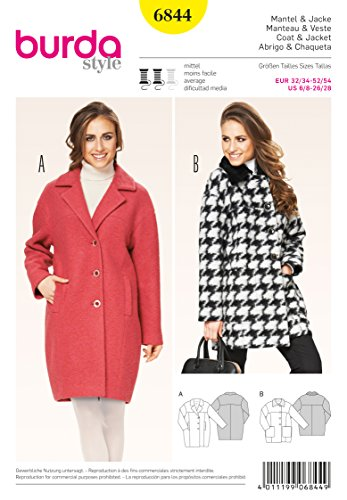 Burda Misses Jacket (BURDA 6844 COAT & JACKET (SIZE 6-28) SEWING PATTERN)