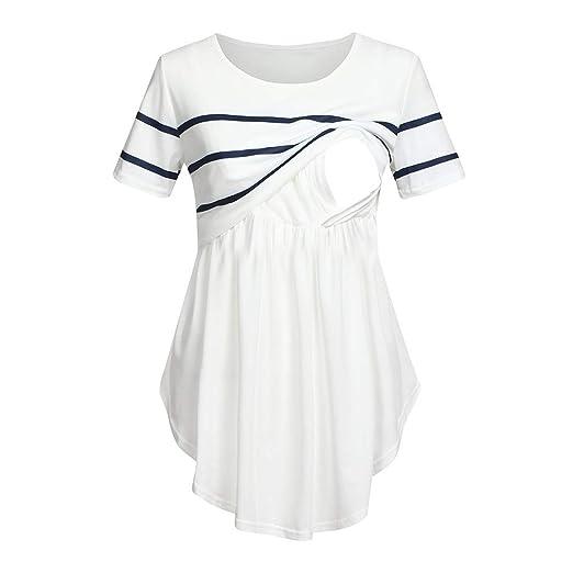 db9265127a08b CieKen Breastfeeding Shirts,Women Mom Pregnant Nursing Baby Maternity Short  Sleeved Striped Blouse Clothes,