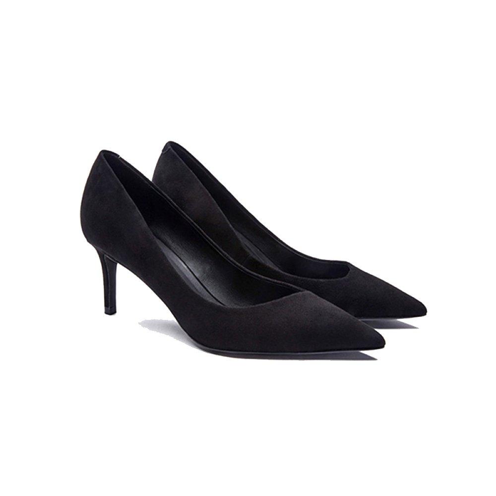 Damenschuhe Schwarz Lamm Leder Scrubs Damen Court Schuhe Sexy Tipps Fein High Heels Professional Schuhe,schwarz-6.5cm-EU 36 UK 4