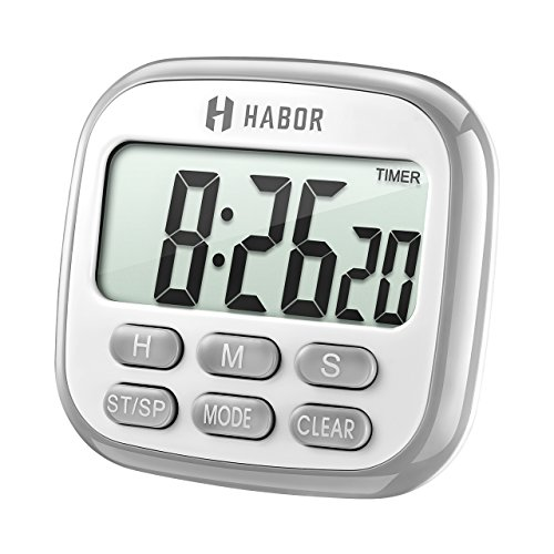 Habor Digital Kitchen Timer Cooking Timer Clock, Strong Magnetic Backing, Large Display, Loud Alarm, Memory Hour Minute Second Count up Countdown Timers for Cooking Kids Sports Games Exercise Office - Big Game Timer