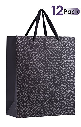 """UniqueGift Bags Set With Durable Ribbon Handles For Men & Women –Sturdy & Beautiful Present Bags For Birthday, Christmas & Holiday Gifts, Eye Catching Design 12.5""""x 10.5""""x 4.5 (Black) 12 (Mala Bag)"""