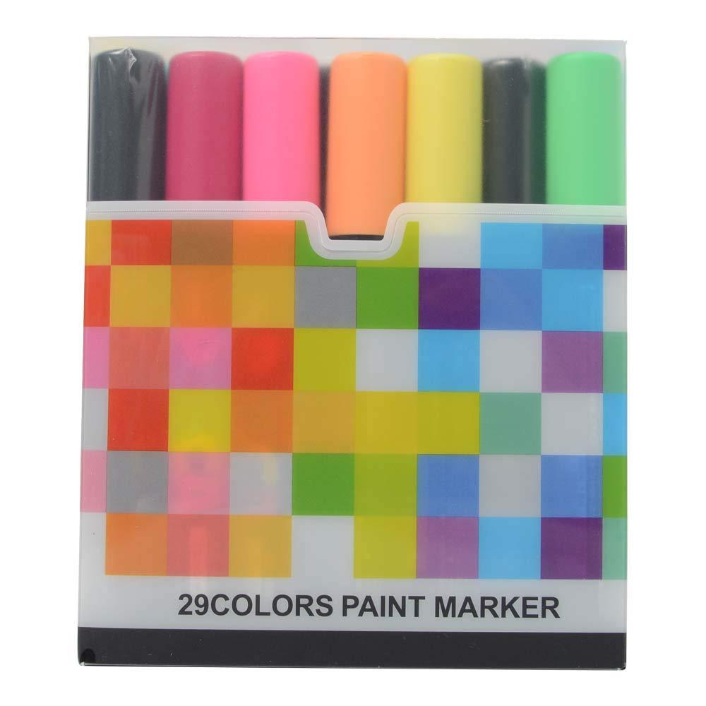Uni Posca Paint Marker FULL RANGE Set , Mitsubishi ALL Natural & Dark , Gold & Silver Pen Medium Point 29 Color (PC-5M), Original Plastic Box by Uni Posca (Image #2)