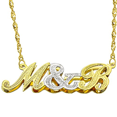 - Pyramid Jewelry 14K Two Tone Gold Personalized Double Plate 3D Initial Necklace - Style 2 (16 Inches, Singapore Chain)