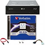 LG 16x WH16NS40 Internal Blu-ray Burner Bundle with 50GB Verbatim M-Disc BD-R DL and Cable Accessories