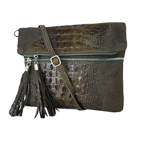 Portfolio Crocodile Bag croco clutch Bags formel 24 2 Style 21 Di Fashion Leather Shoulder 28 Mod 2080 5 Grey UqrPwqEIx