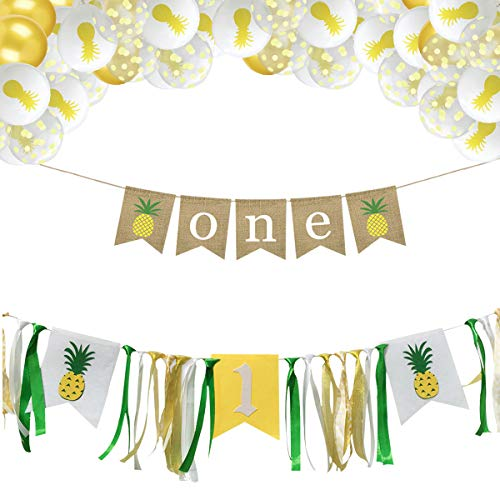 Xunlong Pineapple Theme 1st Birthday Party Decorations- ONE Highchair Pineapple Banner with 30 PCS Tropical Balloons Hawaiian Luau Summer Baby Shower Favors