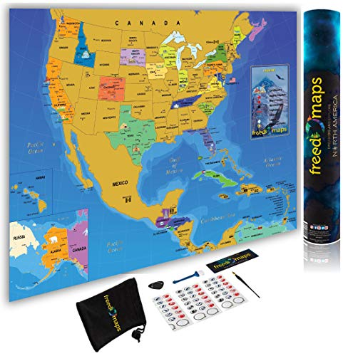 Scratch Off Map USA North America Travel Poster - Country Flags - State National Parks Landmarks - International Travelers - Track USA Canada Mexico Adventure + Gift Scratching Tools - by FreedoMaps