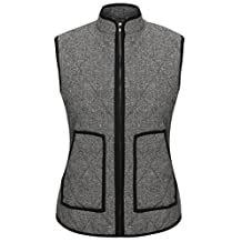 Angvns Women's Basic Solid Quilted Padding Jacket Vest With Pockets