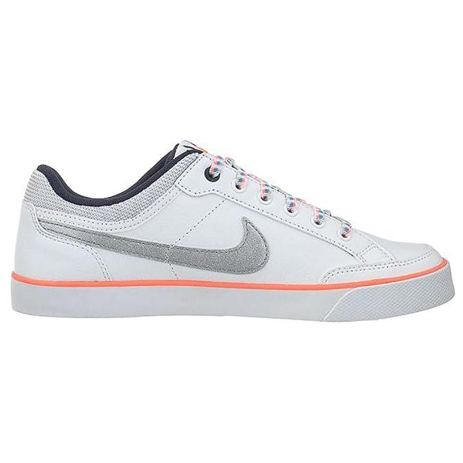 Amazon.com | NIKE Girls' Capri 3 LTR (GS) Tennis Shoes-White/Metallic Silver  | Sneakers