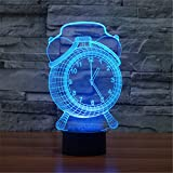 Christmas Valentine Wedding And Birthday Gifts 3D Table Touch Lamp 7 Colorful Color Changing Night Light for Children and Kids Alarm clock