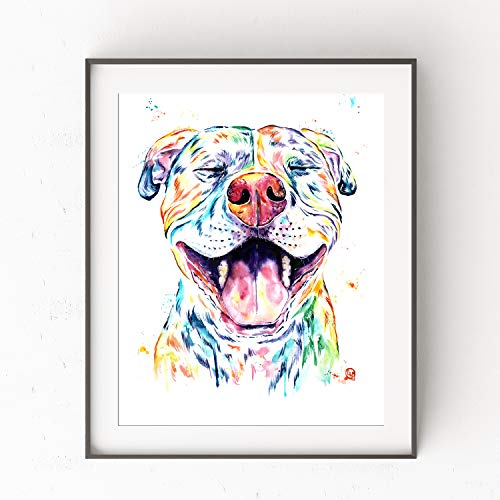Smiling Pitbull Wall Art by Whitehouse Art | Pitbull Painting, Dog Wall Art, Dog Picture | Professional Print of Smiling Pitbull Original Watercolor | Dog Lover Gifts | 6 - Calendars Print Free