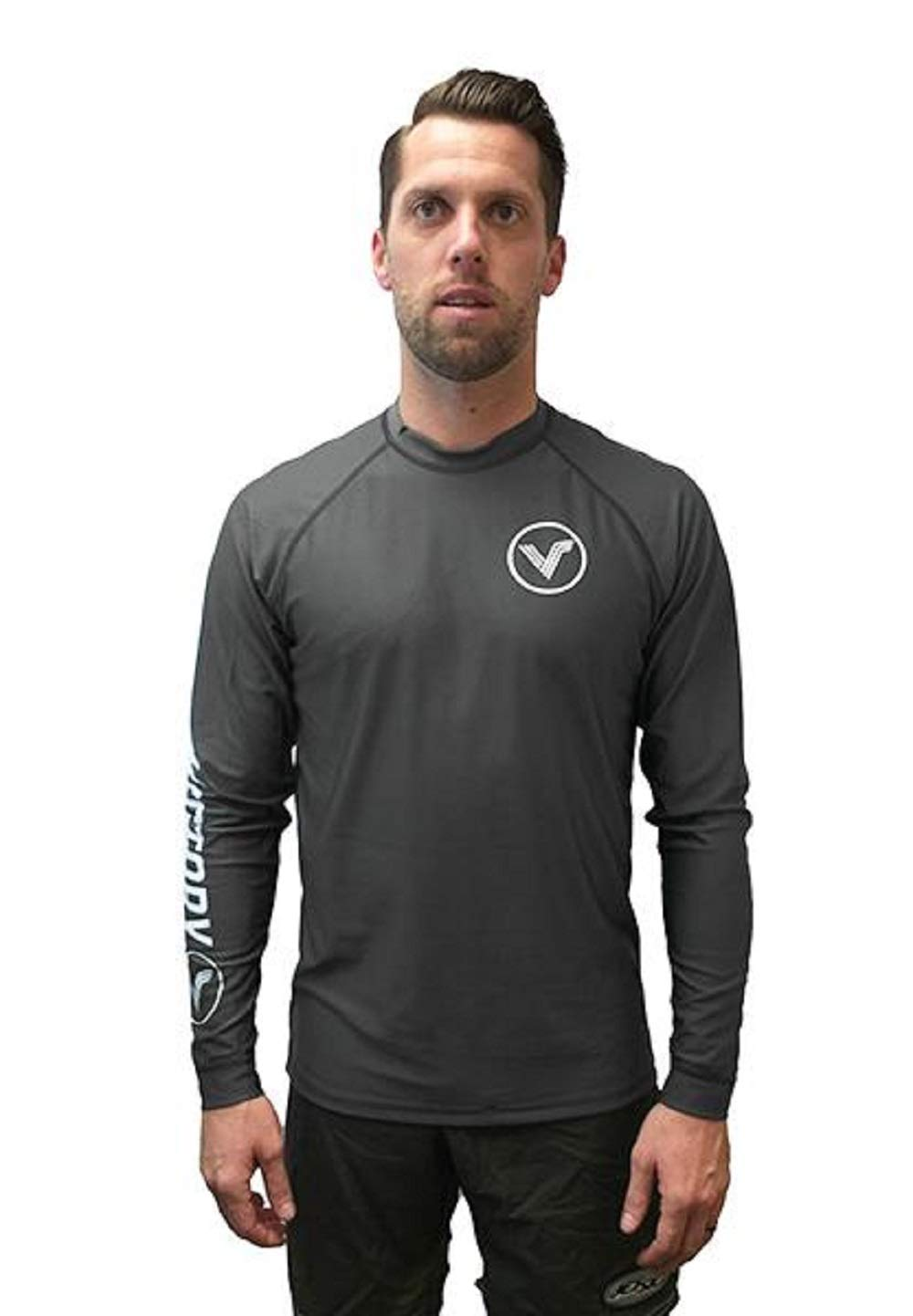 KoreDry Victory Men's Long Sleeve T-Shirt - Water-Resistant UPF 50+ Sun Protection/Block, Medium, Charcoal Gray