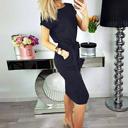 Chic Plage Cocktail Bodycon Summer Crayon Robe Ladies Lady Dcontracte marine Pocket Moonuy Fete Robe Mini Cocktail Tunique Longues Manches Dress Femme A Femmes Bow soire Line Mini Casual wqgOx61