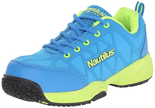 Blue Leather Athletic Shoes (Nautilus 2154 Women's Comp Toe Light Weight Slip Resistant Safety Toe Athletic Shoe, Blue, 7 W US)