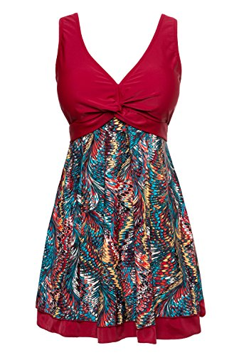 Wantdo Womens Slimming Modest Vintage Peacock One Piece Bathing Suit WineRed,LG(US8)