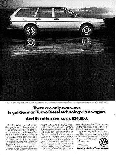 1983 VW Quantum Volkswagen- German Turbo Diesel Wagon Original Magazine Ad -Bug ()