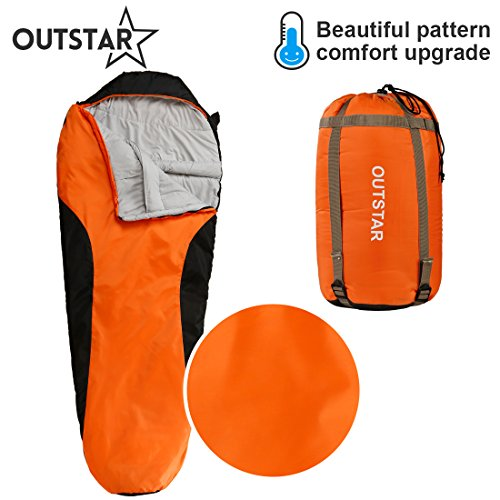 OUTSTAR Lightweight Waterproof Mummy Sleeping Bag With Compression Sack for Kids or Adults Outdoor Camping, Travelling, Hiking & Backpacking (Red & Black / Left (Mummy Zip)